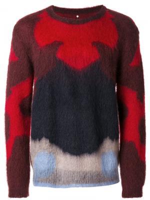 Трикотажный свитер дизайна колор-блок Oamc. Цвет: красный