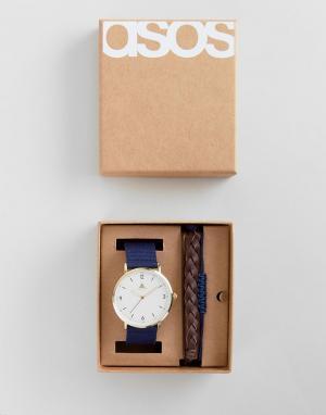 ASOS Подарочный набор из часов и браслетов коричневого темно-синего цвета. Цвет: коричневый