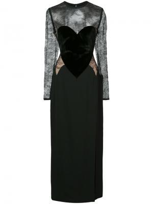 Приталенное длинное платье Elie Saab. Цвет: чёрный
