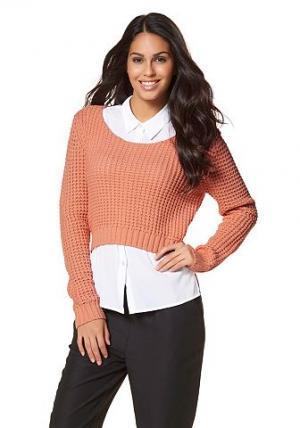 Укороченный пуловер CHILLYTIME. Цвет: лососевый