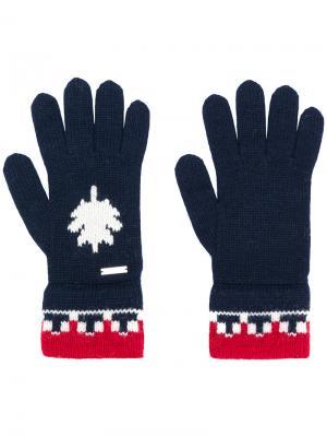 Перчатки с контрастной отделкой Dsquared2. Цвет: синий