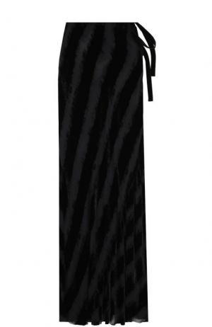 Бархатная юбка-макси с прозрачными вставками Ann Demeulemeester. Цвет: черный