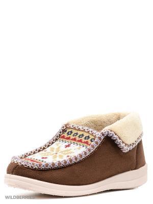 Туфли комнатные с верхом из текстильных  материалов женские. BRIS. Цвет: коричневый