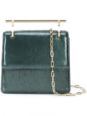 Mini metallic effect crossbody bag M2malletier. Цвет: зелёный