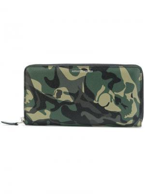 Камуфляжный бумажник Alexander McQueen. Цвет: зелёный