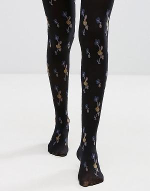 Gipsy Колготки с цветочным принтом. Цвет: черный