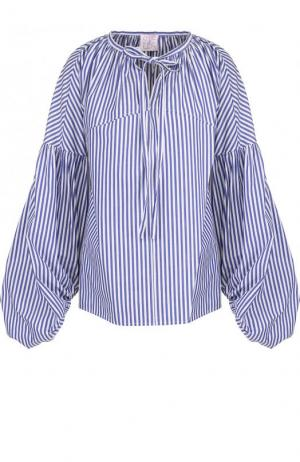 Хлопковая блуза в полоску с объемными рукавами Stella Jean. Цвет: синий