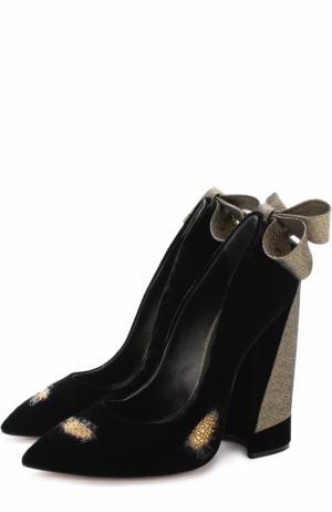 Бархатные туфли Babo с бантом и кристаллами Aleksandersiradekian. Цвет: черный