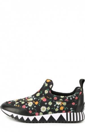 Текстильные кроссовки с цветочным принтом Tory Burch. Цвет: черный