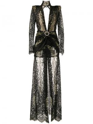 Длинное кружевное платье Alessandra Rich. Цвет: чёрный