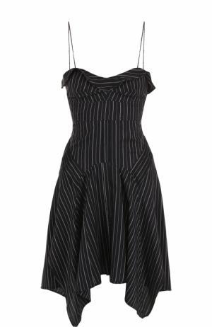 Мини-платье в полоску на тонких бретельках Isabel Marant. Цвет: черный