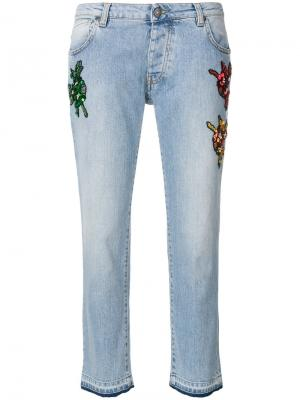 Прямые джинсы с вышивкой Gaelle Bonheur. Цвет: синий