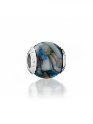 Шарм Blu madreperla Amore&Baci. Цвет: серо-голубой, коричневый, молочный