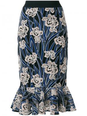 Юбка Valentina кроя русалка с цветочным узором Three Floor. Цвет: синий
