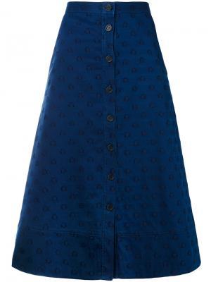 Джинсовая юбка с узором и звезд Chinti & Parker. Цвет: синий