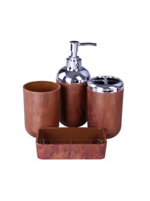 Набор для ванны 4 предмета: дозатор, подставка под зубные щетки, стакан, мыльница PATRICIA. Цвет: коричневый