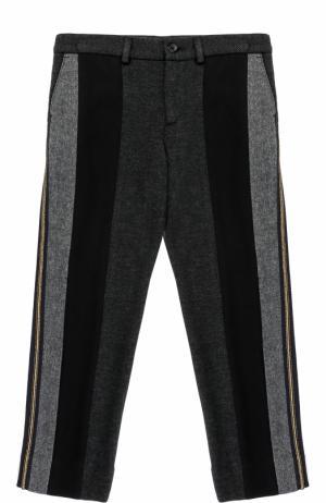 Хлопковые брюки прямого кроя со вставками и металлизированными лампасами Dolce & Gabbana. Цвет: серый