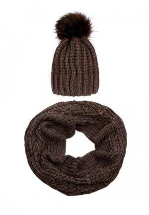 Комплект снуд и шапка Pretty Mania. Цвет: коричневый