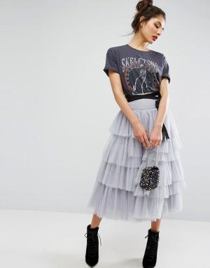 ASOS Ярусная юбка миди для выпускного из тюля с поясом. Цвет: серый