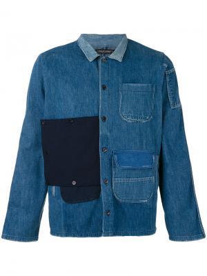 Джинсовая рубашка в стиле пэчворк Longjourney. Цвет: синий