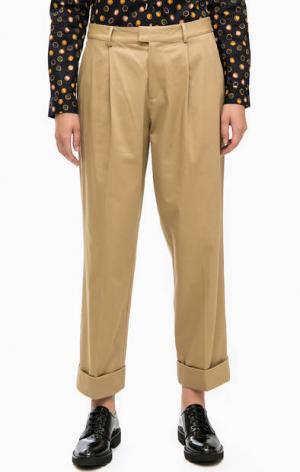 Бежевые брюки чиносы оригинального кроя Scotch&Soda. Цвет: бежевый