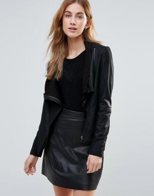 Muubaa Кожаная куртка с запахом и высоким воротником. Цвет: черный