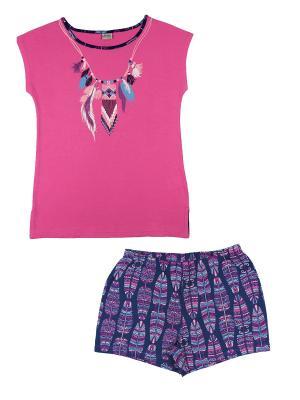 Комплект женский (футболка, шорты) Family Colors. Цвет: фиолетовый