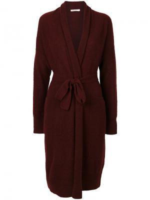 Пальто-кардиган с поясом Mes Demoiselles. Цвет: красный