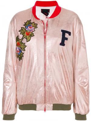 Декорированная куртка бомбер Femme By Michele Rossi. Цвет: розовый и фиолетовый