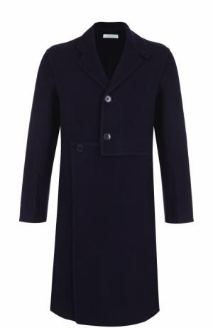 Однобортное пальто асимметричного кроя из смеси шерсти и кашемира J.W. Anderson. Цвет: темно-синий