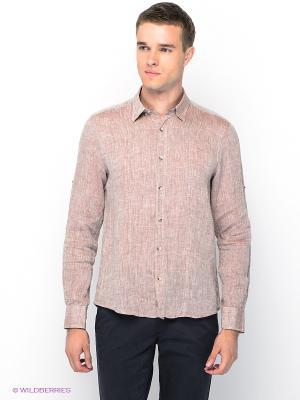 Рубашка MONDIGO. Цвет: коричневый, красный, белый
