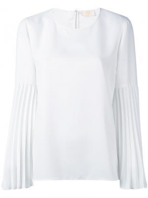 Блузка с плиссированными рукавами Sara Battaglia. Цвет: белый