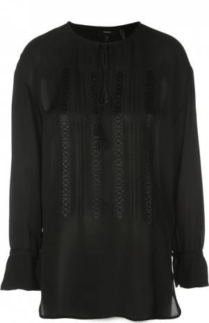 Удлиненная шелковая блуза с вышивкой и круглым вырезом Theory. Цвет: черный