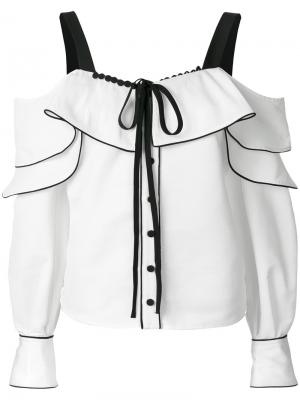 Блузка с оборкой и съемными рукавами Self-Portrait. Цвет: белый
