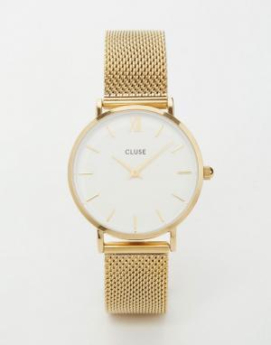 Cluse Золотистые часы с сетчатым браслетом Minuit CL30010. Цвет: золотой