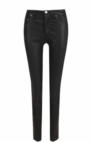 Однотонные кожаные брюки-скинни Iro. Цвет: черный