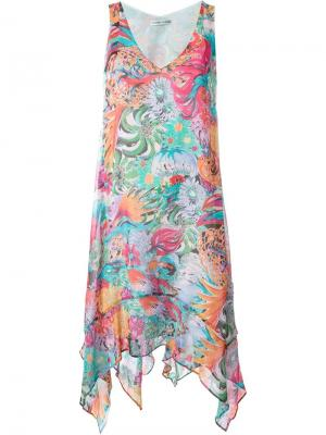 Асимметричное платье с цветочным принтом Tsumori Chisato. Цвет: розовый и фиолетовый