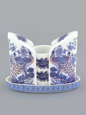 Набор для специй Павлин синий Elan Gallery. Цвет: синий, белый