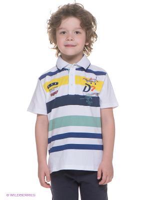 Футболка-поло Brums. Цвет: белый, синий, желтый