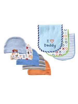 Комплект Шапочки, 5 шт.+ Салфетки для кормления, 3 шт. Luvable Friends. Цвет: синий, голубой, белый