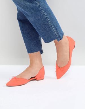 ASOS Балетки с острым носком LEGENDARY. Цвет: оранжевый