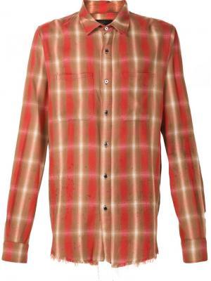 Рубашка в клетку Amiri. Цвет: красный