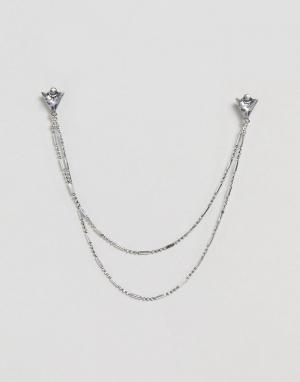 DesignB London Серебристое украшение для воротника с треугольниками и цепочкой Design. Цвет: серебряный