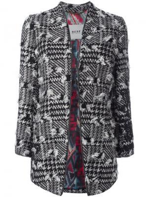 Пальто в ломаную клетку с рваными деталями Bazar Deluxe. Цвет: чёрный
