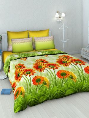 Комплект постельного белья из бязи 1,5 спальный Василиса. Цвет: зеленый, желтый, красный