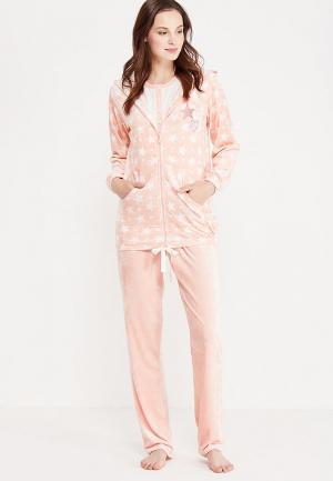 Комплект брюки, толстовка и футболка Relax Mode. Цвет: розовый