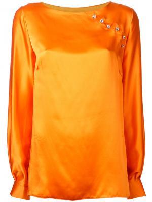 Блузка с отделкой N Duo. Цвет: жёлтый и оранжевый