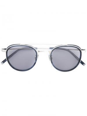 Солнцезащитные очки в круглой оправе Maska. Цвет: синий