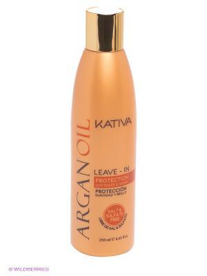 Несмываемый оживляющий концентрат Kativa для волос с маслом Арганы ARGAN OIL, 250мл. Цвет: бежевый