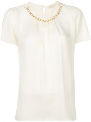 Блузка с цепочкой Michael Kors. Цвет: телесный